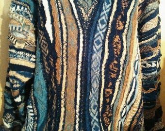 Vintage-Coogi-classic-3d-vivid-color-old-school-hip-hop-crewneck-sweater-XL