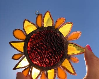 Dazzling Hanging Sunflower Sun Catcher With Copper Foil