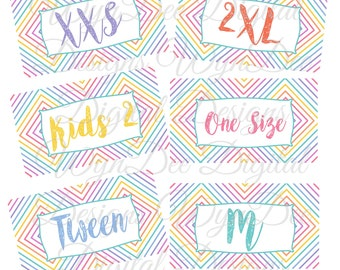 Size tag printables
