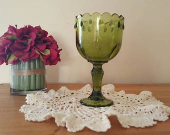 Vintage Green Glass Goblet Indiana Glass Planter wedding center piece