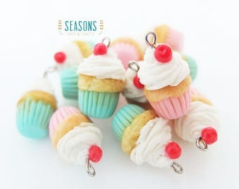 Cupcake Cherry Clay Charm (2/4/6 pcs) - Jewelry Supply - Miniature Food - Food Jewelry - Planner Charm - Gift for Knitter- Stitch Markers