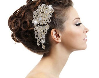 Gold crystal hair comb