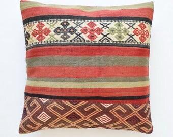 "Kilim rug pillow cover 26""x26"" (65x65cm) 009"