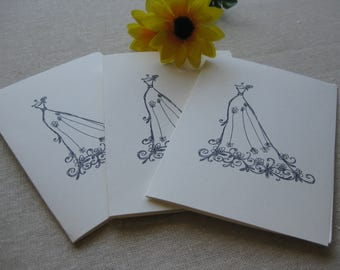 6 Handmade wedding dress blank notecard set