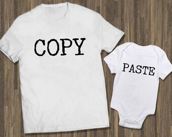 Copy Paste Set White   Father Son Baby   Matching Shirts Dad   Matching TShirts Dad   Matching Tees Dad   Funny Dad Baby    Daddy and Me