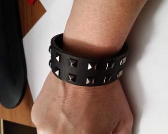 black studded {recycled belt} bracelet