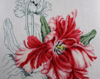 Handmade - cross stitch picture - Flowers - Home decor - Wall Hanging
