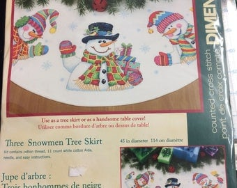 Three Snowman Tree Skirt