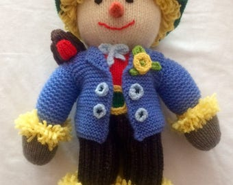 Home Made Hand Knitted Soft Toy Scarecrow