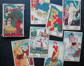 C.1930 Rare Magyar Sibyl Fortune Telling Cards 32/32 Brilliant Colorful Designs