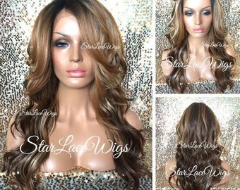 Lace Front Wig - Blonde Auburn Brown - Long Wavy - Ombre Highlights - Heat Resistant Safe