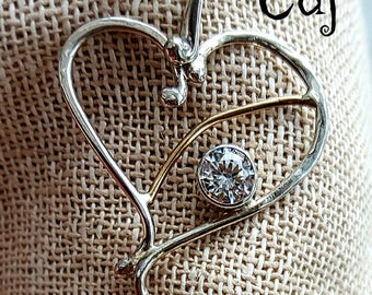 Statement Sterling Silver and Gold-filled Heart Pendant with CZ