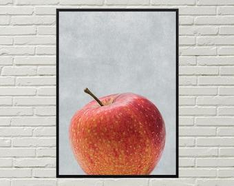 APPLE art print, kitchen gift, apple print, apple wall art, kitchen wall art, kitchen decor, fruit art, kitchen picture, dining room art