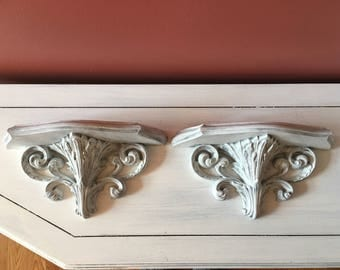 Wall Shelf ornate  vintage distressed white ornate French country  shabby weathered handpainted   wall decor entry way baroque