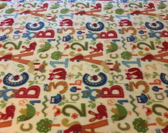 Colorful 123, ABC animals blanket/throw