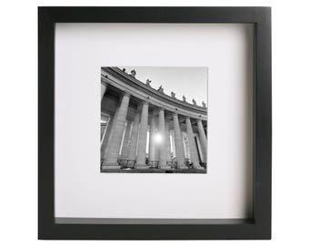 Sunset in San Pietro square, Vatican (Rome, Italy). Black and white medium format analog original print wall art