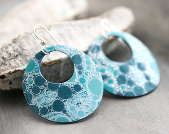 Turquoise Blue Circular Dangle Earrings - Large / Contemporary Handmade Paper Jewelry / Unique gift for her