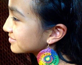 Rainbow crochet earrings