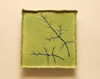 Green ceramic plate by YanaKerama, handmade ceramic plate, small ceramic plate, cake plate, snack plate, fruit plate, kitchen decor