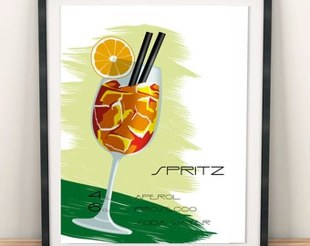 Spritz, cocktail posters, printable