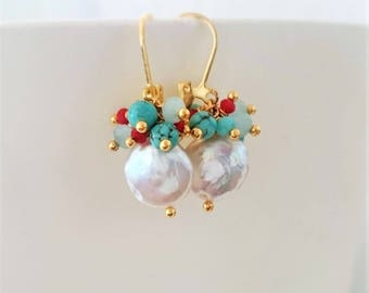 Coin pearl earrings with turquoise semi-precious stones and crystals