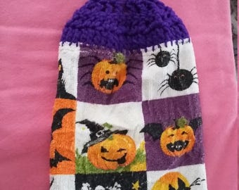 Halloween Kitchen Towel with Crocheted Top