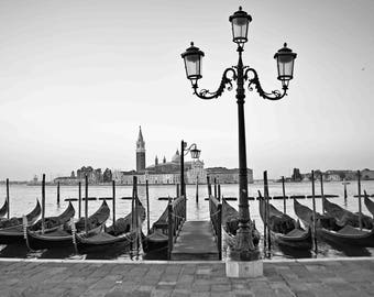 "Digital printable black and white travel photography 300dpi 24x36 and 8x12 ""GONDOLAS and SANGIORGIO ISLAND"""