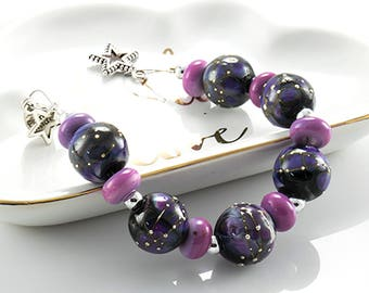 AMB* Z99 Galaxy Lampwork Beads, Lampwork Beads, Glass Beads, Z99, Purple Lampwork Beads, Silver
