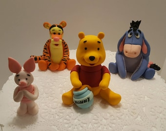 Winnie The Pooh And Friends Fondant Cake Toppers Set