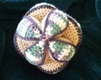 Amish puzzle ball, camouflage, handmade crocheted toy