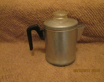 Vintage aluminum coffee pot with all parts