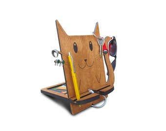 cat stand, cat phone support, home organizer, stand for cell phone, office phone holder, smart stand for cell phones, desk phone cradle