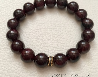 Garnet Gemstone Beaded Bracelet