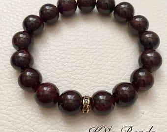 Garnet Gemstone Beaded Bracelet