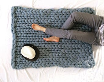 Silver/Grey Giant Chunky Knit Blanket (Small size) - Pure Australian Merino Wool