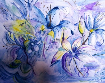Lilies in bloom // painting // canvas // wall art