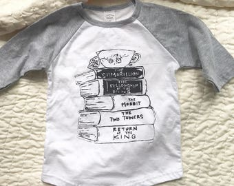 CLEARANCE Tea with Tolkien Toddler Baseball Tee in White and Heather Grey