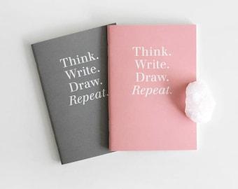 Pocket size Notebook set / 2 colors[Pink,Gray] / A set of 2pcs / 05-n