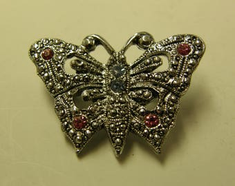 Vintage Costume Gemstone Butterfly Pin Back Brooch