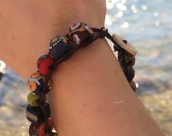 African Bead Leather Bracelet