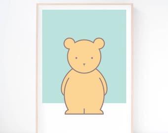 Buddy Bear Art Print. Bear Print. Woodland Nursery. Kids Wall Art. Printed Art. Nursery Art. Nursery Print. Scandinavian Print. Baby Gift.