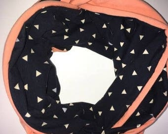 Navy blue with white Triangles infinity scarf