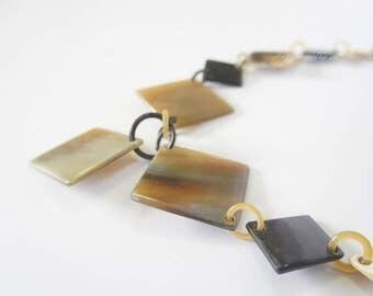 Natural buffalo horn color chain necklace handmade with heart - collier en corne corne de buffle