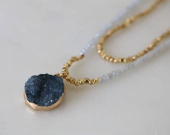 Druzy Agate Beaded Necklace