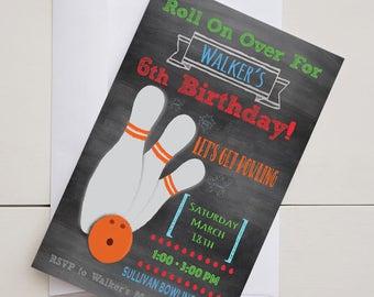 Chalkboard Bowling Birthday Party Invitation-Digital-Printable-5x7
