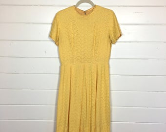 Vintage 1960s Mariold Eyelet Day Dress / Yellow Fit & Flare Dress / Full Skirt