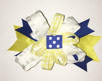 Blue and Gold Spirit Hair Bow
