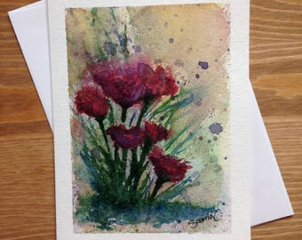 Handmade card wishes / / flowers / / local Art