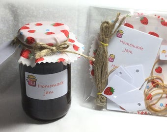 12 x jam covers STRAWBERRY printed FABRIC PACK includes bands/twine/tags/labels, 3 sizes available,