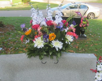 cemetery/headstonesaddle/silk flowers/for double or single headstone/mother's day/fathers'day/birthdays/